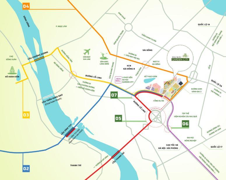 Vị trí Arden Park Ha Noi Garden City