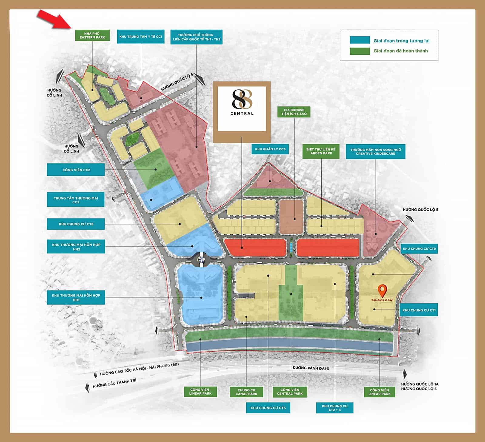 Vị trí của Eastern Park trong Ha Noi Garden City